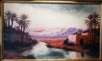 Henri RICHEVILLAIN grand tableau orientaliste coucher soleil bien coté !