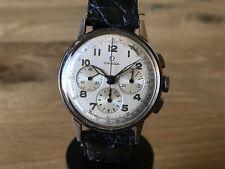 Reloj OMEGA Vintage Stainless Steel Wrist Watch - Swiss Chrono Leather Strap
