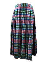 Vintage Women Skirt Pleated High Waist Check Print Multicolored Wool Blend UK 12
