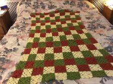 Vintage Multi Color Afgan Throw Blanket Crochet Handmade