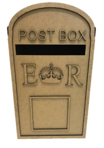 Post Box Royal Mail Style Wooden Wedding Party  MDF for Cards Messages S279