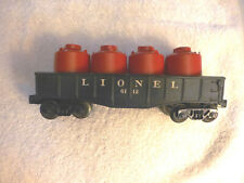 LIONEL 6112 BLACK GONDOLA with 4 RED CANISTERS, VG Condition
