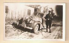 VINTAGE PHOTO HUNTER RIFLE DEAD DEER ON CAR 1941 MICHIGAN CARCASS BUCK 2 of 3