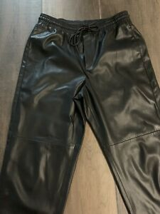 Mango Leather Look Trousers M