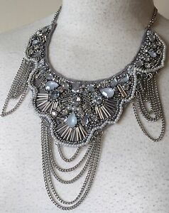 BNWT Silver & Ivory Heavily Beaded Statement Fashion Necklace