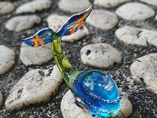 Whale Miniature Figurine Painted Blue Blown Glass Art Gold Trim Sea Animals Gift
