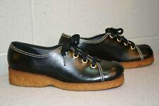 7 Nos Vtg 1970s Shoe Black Platform Oxford Wedge Heel Flats Delmar Ca Boho