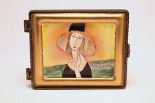 Kelvin Chen Enamel Hand Painted Copper Trinket Ring Box Modigliani Lady with Hat