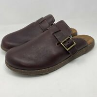 Clarks Collection Leather Slip-On Clogs Pebbled Brown Leather Mens Sz 11 M