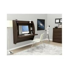Brown Computer Wall Desk Floating Storage Office Shelf Modern Mount Compartment