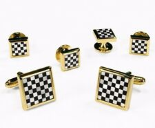 Gold & Black White Square Onyx Mother Of Pearl Checkerboard Cufflinks Stud Set