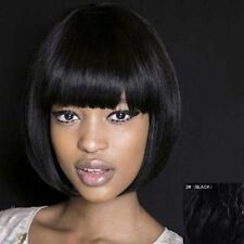 100% Real Hair! Bob Style Elegant Straight Black Neat Bang Trendy Short Hair Wig