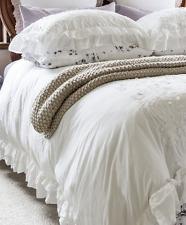 Shabby Hampton Chic White Petticoat Ruffle King Bed Set Duvet Doona Quilt Cover