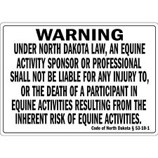 Warning Under North Dakota Law An Equine Activity Osha Metal Aluminum Sign