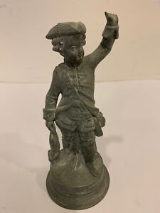 Vintage European Aluminum Soldier Figurine Sculptor With Rabbit 8 Inches Tall