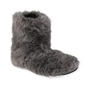 Joe Boxer Women's Faux Fur Gray Bear Bootie Slippers  Size 4/10