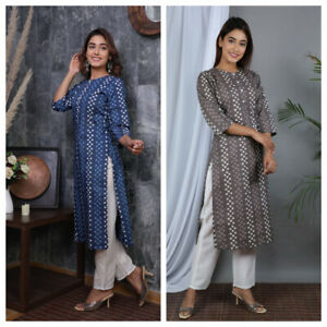 Beautiful Trinational Indian Ethnic Printed Cotton Kurti With Pant Lovely Design