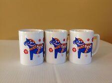 Bergquist Imports SWEDISH DALA HORSE MUG Coffee Cup Red Blue Set Of 3 Berggren