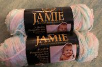 2 Vtg Lion Brand Yarn Jamie Peppermint Print, 1.5 Oz 170 Yards Each