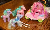 "4 Lot Hasbro 5"" My Little Pony Purple Pink, 1 Scooter NO REMOTE 2002-2007 Ponies"