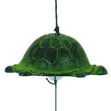 Japanese Furin Wind Chime Nanbu Cast Iron Iwachu Green Turtle (L), Made in Japan