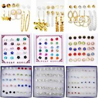 8-15Pairs Sets Women Crystal Heart Circle Star Ear Stud Earrings Wedding Jewelry