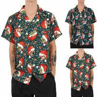 Mens Vintage Christmas Hawaiian Santa Claus Party Size Large Hawaiian Shirt Top
