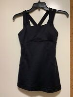 LULULEMON Wild Strappy Back Black Tank Top Womens size 4.
