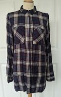 NEW LOOK MULTICOLOURED LONGLINE CHECK SHIRT SIZE 12 EXCELLENT CONDITION