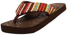 Blazin Roxx Women MARLEE Beaded Strap Red Brown Flip Flops Wedge Sandals 4115897