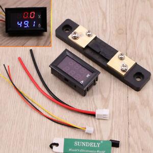 DC 100V 0-50A Digital LED Dual Voltmeter Ammeter Amp Volt Meter + Current Shunt
