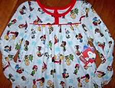 NWT PEANUTS White Fleece XMAS Nightgown 4/4T Girls Pajamas SNOOPY~CHARLIE BROWN