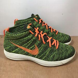 Nike Lunar Flyknit Chukka 2013 Men size 12 Green Orange 554969-080