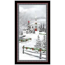 Home For The Holidays Panel-Quilting Treasures-Christmas-Church-Snow-Trees (box)