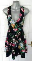 ❤ AX PARIS Size 10 Very Dark Navy Multi Floral Stretchy Skater Dress V Neck