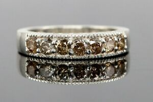 Engagement Band Ring Sterling Silver 0.50 CT Natural Fancy Brown Diamond