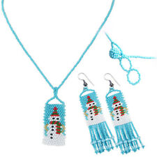 NEW BLUE WHITE SNOWMAN BEADED NECKLACE EARRINGS FASHION CHRISTMAS HOLIDAY SET