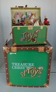 1986 Enesco TREASURE CHEST OF TOYS Animated musical Toy Box Complete EUC