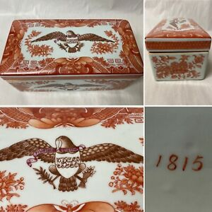 ANTIQUE 1815 CHINESE ORANGE PORCELAIN FITZHUGH LIDDED BOX CASKET AMERICAN EAGLE