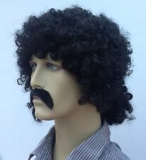 Black  Curly Men's  Fancy Dress Wig & Droop Moustache (Long Back & Sides)