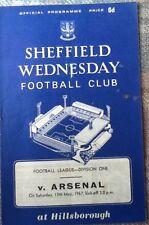 1967 SHEFFIELD WEDNESDAY v ARSENAL programme