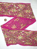 Vintage Antique Border Sari Trim Lace 2 feet RARE OLD SEQUINS,EMBROIDERED, GOLD