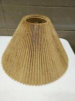 "Mid Century Burlap Lamp Shade Round Ruffled Fluted 10.5"" Tall (c100)"