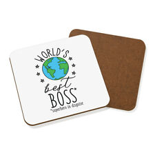 World's Best Boss Coaster Drinks Mat - Funny Gift Present