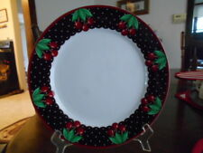 "Cherry Cameo Dinner Plate 10.5"" Mary Engelbreit Enesco Stoneware White Navy?"