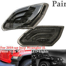 For 2018-up Jeep Wrangler JL Dark Smoke Lens Front Side Markers LED Lights ABS