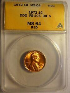 Rare 1972 Lincoln Cent DDO FS-105 ANACS 65RD #8