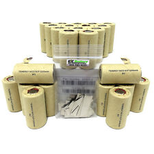 30 Tenergy 1.2V 2.2Ah NiCd Sub C Flat Top Rechargeable Batteries w/ 30 Tabs