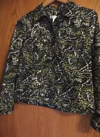 Christopher and banks Petite medium button up short shirt jacket greens long slv