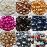 10/50Pcs Big Hole Pearl Spacer Crafts Loose Beads Jewelry Making DIY Bead 12mm